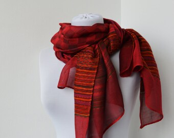 CLEARANCE SALE - Red Scarf - Fashion Scarf - Trendy Fabric Scarf - Shawl Scarf   845