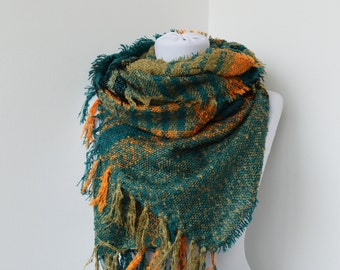Woven Fabric Scarf  - Large Soft Scarf  - Cowl Scarf - Colorful Shawl Scarf        935