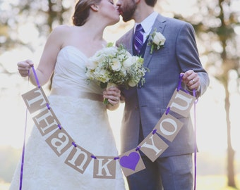 Thank You Sign / Rustic Wedding Banner Photo Prop - Wedding Sign - Wedding Decoration / Backdrop