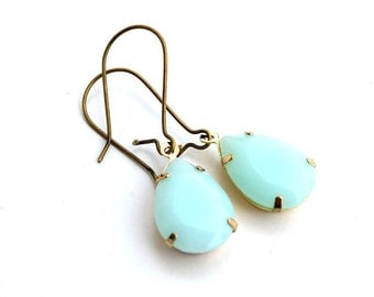 Mint-colored earrings. Drop earrings
