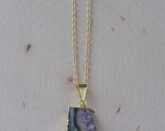 Amethyst Necklace: Gold Dipped Amethyst Necklace, Raw Amethyst Necklace, Amethyst Slice Necklace, Amethyst Slice Pendant, Raw Amethyst
