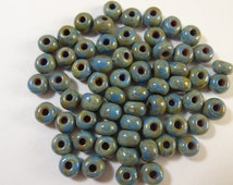 2/0 Denim Blue Opaque Picasso Czech Glass Seed Bead  10 Grams
