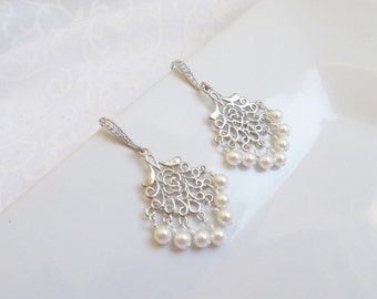 FREE US Shipping Swarovski Pearl Chandelier Bridal Earrings Rose& Pearl Chandelier Bridal Earrings Bridal Jewelry Bridesmaid Gift