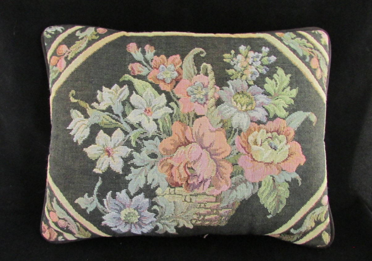 Colorful Tapestry Pillow Vintage Black Floral by 4RLoveOfOldAndNew