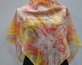 Vintage HANDMADE silk scarf , hand dyed scarf , hand rolled ....(712)