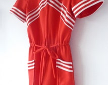 70s LIPSTICK RED jumpsuit. vintage red + white romper. classic 70s dagger collar. bell bottom flares. striped pattern. stripes. crimplene
