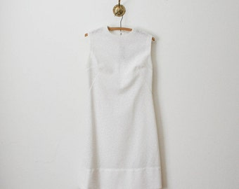 vintage 60s tile print white dress