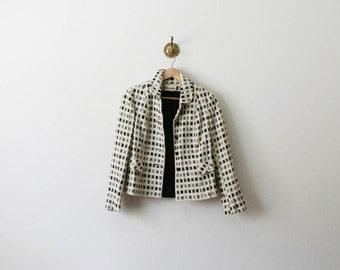 vintage 70s grid pattern wool jacket
