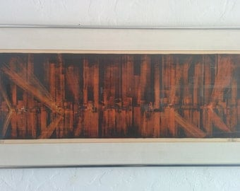 "Mid Century signed and numbered framed lithograph ""Glowing City"" by Richard Florsheim"