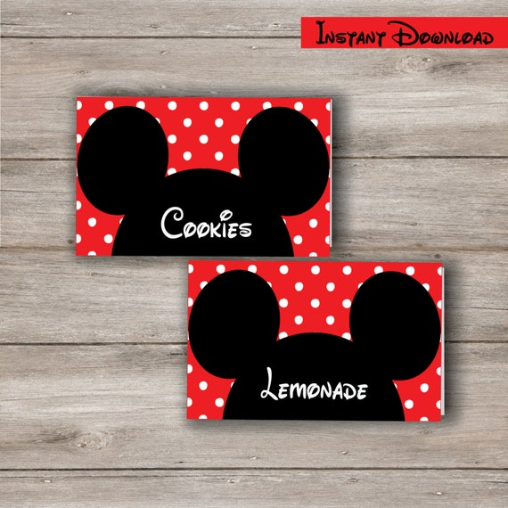 Mickey Mouse Food Tent Cards with Changeable Text Printable DIY Editable Mickey Mouse Food Cards Mickey Mouse Birthday Party Printables  sc 1 st  Etsy & Mickey Mouse Food Tent Cards with Changeable Text Printable