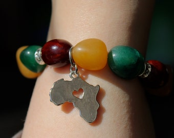 Natural Stone Africa Charm Bracelet