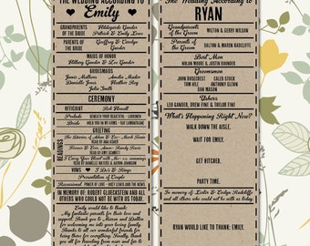 Printable Wedding Program - 'The Wedding According to' His and Hers Funny Program - Looks Great on Kraft Paper