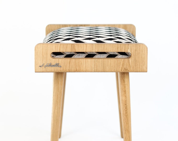Stool / Seat / stool / Ottoman / bench made of solid oak table, oak legs, upholstered in fabric with geometric pattern