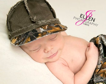 NEW Item  tree camo and brown newborn  baseball cap, newborn baseball hat,  newborn boy photo prop, camo  baby boy hat
