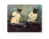 "Cat Art Print, Music Art, Mixed Media Collage, Anthropomorphic, Xylophone, Victorian Animal, (3 Sizes Available) ""Patty & Polly"""