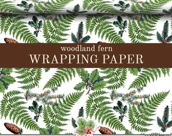 Woodland Fern Wrapping Paper | Custom Woodland Fern Gift Wrap Paper 9 foot or 18 foot Rolls Great For Any Occasion.