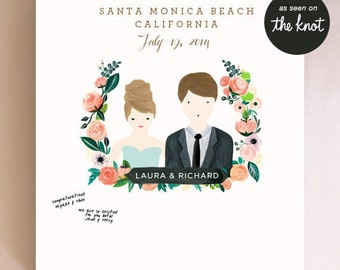Wedding Guest Sign Poster, Wedding Guest Book Alternative Wedding Poster with Couple Portrait, Wedding Guestbook Poster - 11x14, 13x19