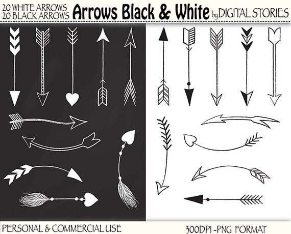 "40 Arrows Clipart: ""ARROWS BLACK & WHITE"" Hand drawn ..."