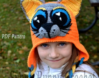 Crochet Pattern, Child Animal Hat, Cat Hat Pattern, Beanie and Earflap Pattern, Animal hat pattern, Unique Hat, fall, child, kid,girl, baby