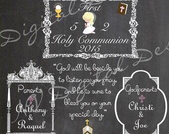 First Holy Communion Chalkboard- Communion Chalk sign- Digital File Various sizes