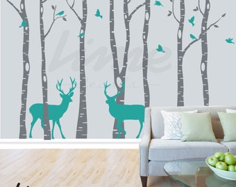 Birch Tree Wall Decal Forest Deer -  Birch Trees, Birch Trees Vinyl, Birch Tree Wall Decal, Kids Vinyl Sticker Removable