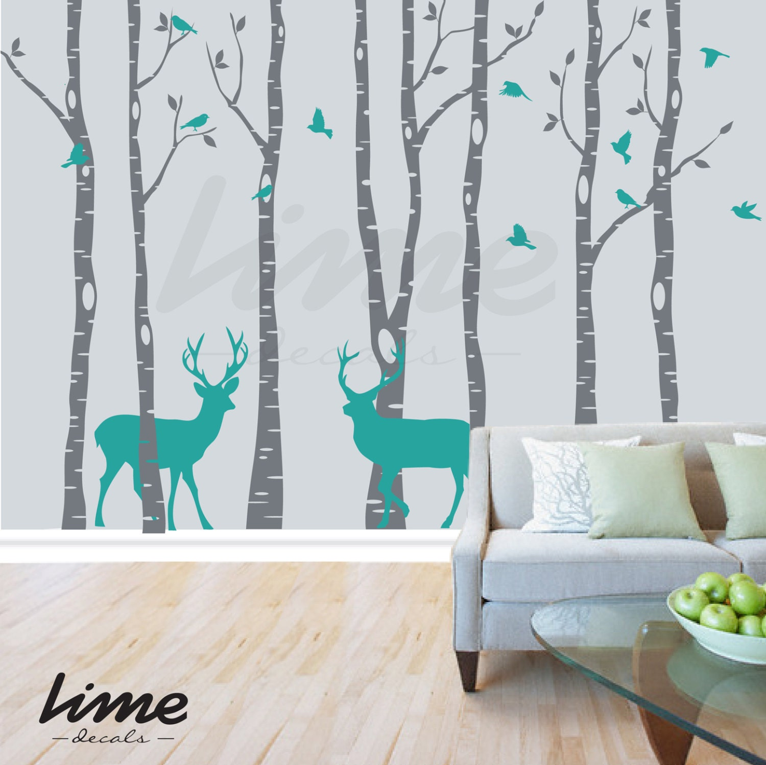 Birch Tree Wall Decal Forest Deer Birch Trees Birch Trees