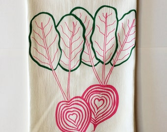 Tea Towel, Beet Towel, Vegetable Towel, Screen Printed Flour Sack Towel
