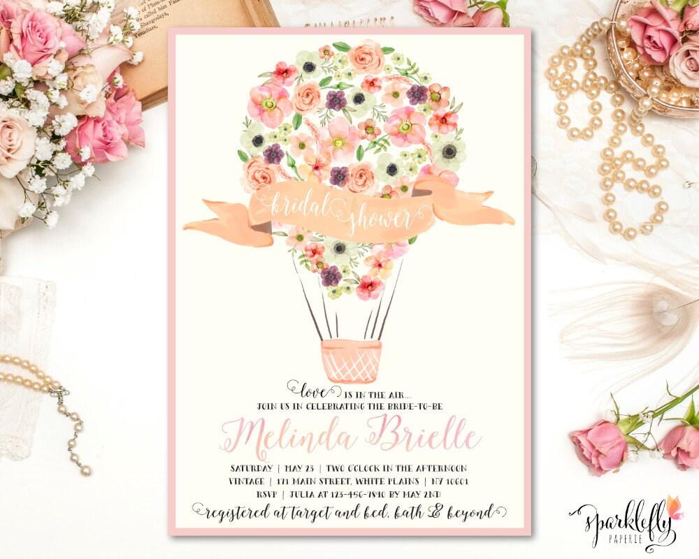 Hot Air Balloon Bridal Baby Shower Invitation Watercolor