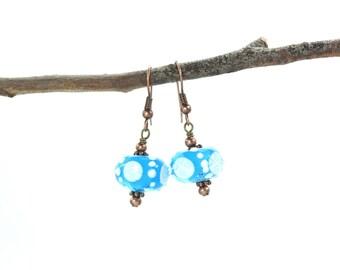 Blue Lampwork Beads, Beaded Earrings, Blue Lampwork Earrings, Blue Crystal Earrings, Lampwork Bead, Beaded jewelry, Blue Glass Earrings