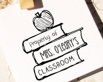 Teacher Stamp, From the Classroom of Stamp, Custom Property Of - School Teacher Name- Custom Book  Stamp, This Book Belongs to Stamp,  10104