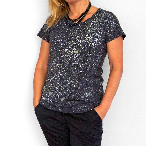 MILKY WAY. Dark T shirt for woman or girl. Hand printed tees. Unique t shirt. Colour splash. Galaxy t shirt
