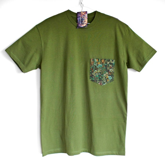 WILD FLOWERS in the POCKET. 100% cotton T shirt . Unique t shirts. Classic tees. T shirt for man.