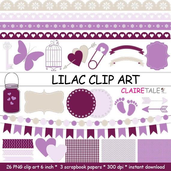 "Digital ""LILAC CLIP ART"" frames, labels, ribbons, borders, flags, arrows, butterfly, lights, hearts, mason jar, key, bird cage, baby shower"