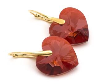 Red Heart Earrings Swarovski Earrings Sterling Silver Earrings Gold Earrings Heart Jewelry Gold Jewelry Bridesmaid Gift Bridal Earrings