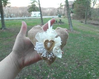 Burlap Heart Ornament, Shabby Chic Ornament, Rustic Ornament, Lace Ornament,Christmas Ornament, Christmas Decoration, burlap heart