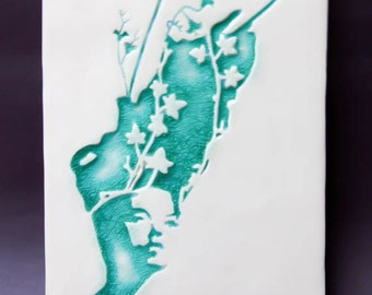 Ceramic Wall Tile Art - 'Teal Ivy'