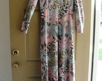 Vintage 1970s floral maxi dress 70s Large