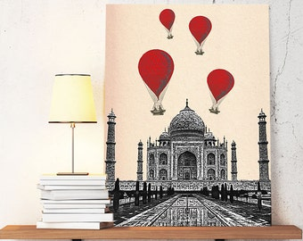 Taj Mahal  Red Hot Air Balloons Art Print Digital Original Illustration Poster, Mixed Media Drawing Digital Print India