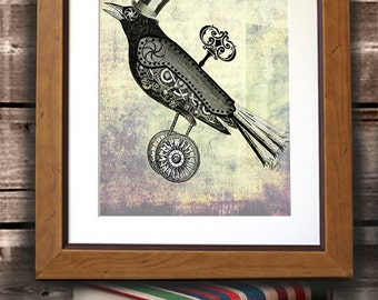 Steampunk Crow  with Top Hat Art Print Poster Wall Decor Wall hanging Wall Art
