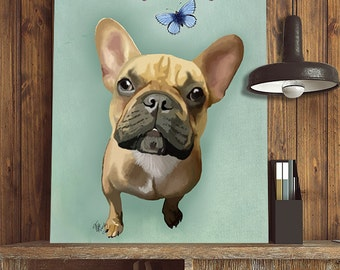French Bulldog & Butterflies  French bulldog print, frenchie print french bulldog art poster, illustration, picture, painting, graphic