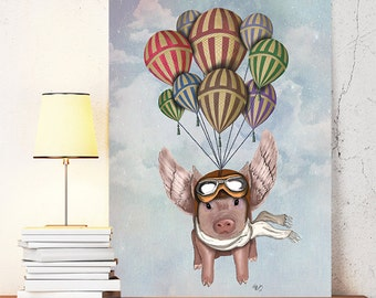 Pig With Wings Pig And Hot Air Balloons Flying Pig Print Pig Art Pig