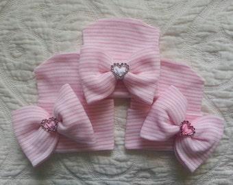 Pink and White Hospital Newborn Beanie with added Sparkle! Rhinestone Heart Slide, Newborn Hat, Baby Girl Hospital Hat, Newborn Girl Hat