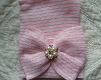 Newborn Beanie with matching  Bow. Now with added Pearls and Pink Rhinestones!  Newborn Hat, Baby Girl Hospital Hat, Newborn Girl Hat