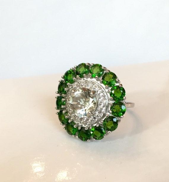 Vintage Green Amethyst Ring Sterling By Antiquejewelryforfun