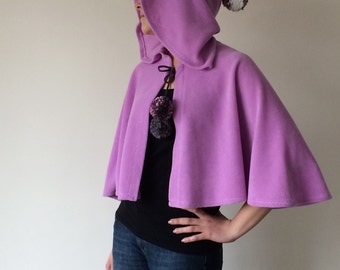 Lavender Hooded Cape, Hooded Short Cape, Fleece Cozy Capelet, Pompom Cape, Lilac Costume, Women Outwear, Christmas Gift, Winter Cape