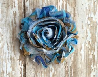 CLEARANCE Swirl Light Blue Shabby Chic Flower Hair Clip, Girls Blue Flower Hair Bow, Toddler Flower Barrette, Alligator Clip, Hair Accessory