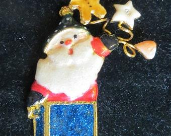 Vintage Christmas Santa Claus Enameled Brooch Pin Jack In The Box - Free Shipping