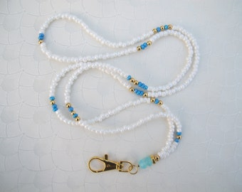 White, Light Blue and Gold Lanyard. Handmade Beaded ID Badge Holder. Necklace ID Holder. White Glass beads. Gold decorative beads.