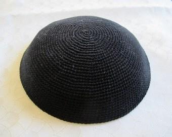 Black Kippah. Handmade Crochet Kippah. Hand knitting Yarmulke. Black Yarn of Cotton. Plain Black Kippah. Everyday Kippah. Black Yarmulke.