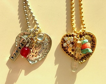 Artisan Style Gold or Silvertone Hearts With Gemstones Necklaces